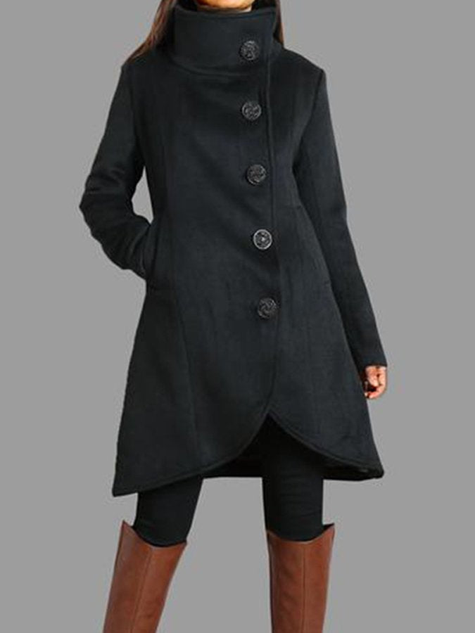 Buttoned Solid Stand Collar Long Sleeve Outerwear