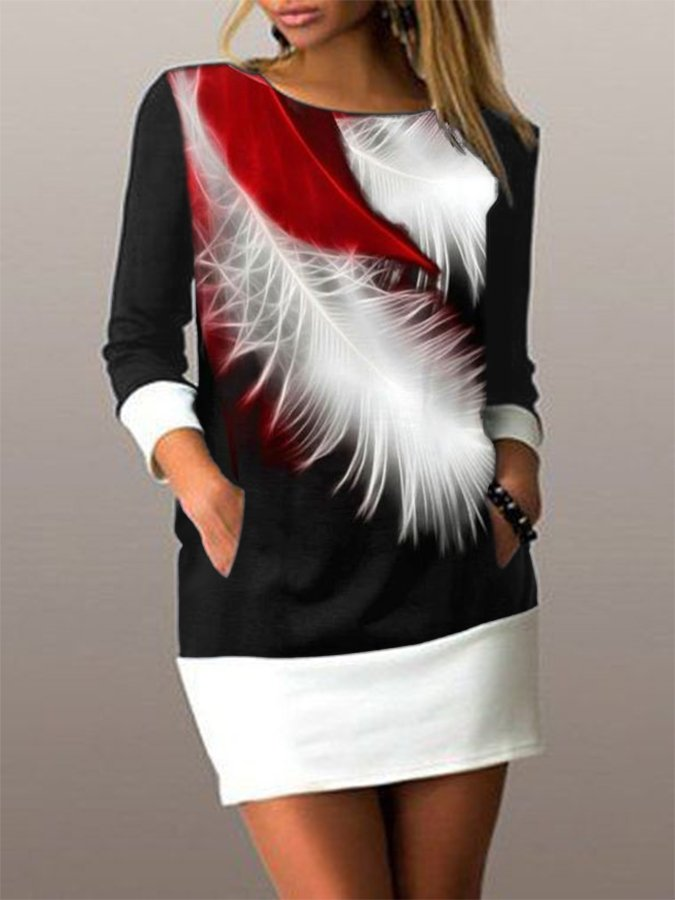 Black-Red Abstract Crew Neck Long Sleeve Paneled Dresses