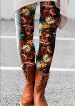 Multicolor printed elasticated all-match bottoming pants