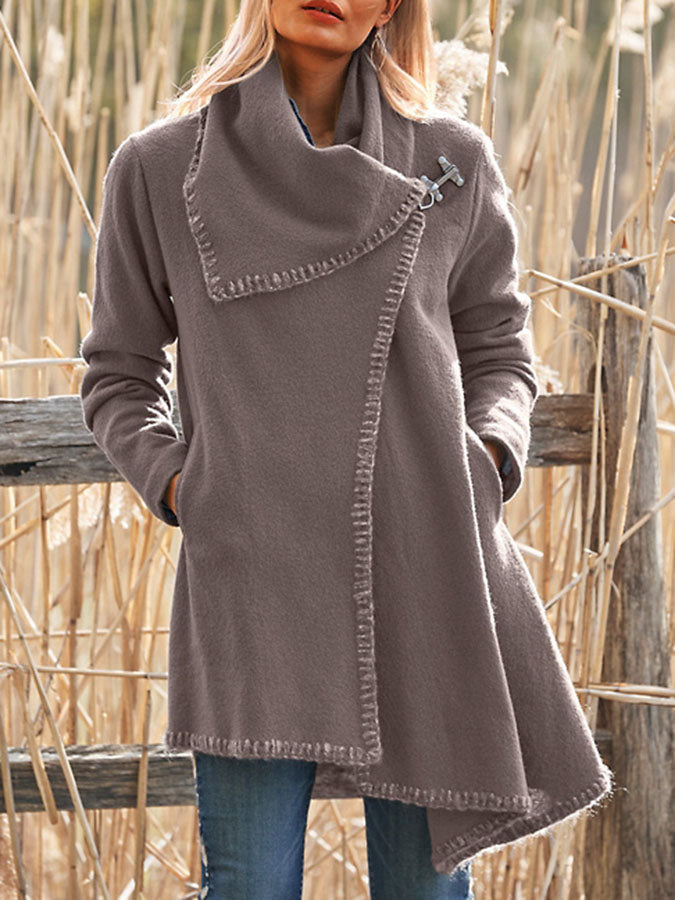 Asymmetrical Turn-Down Collar Solid Buttoned Long Sleeve Coat