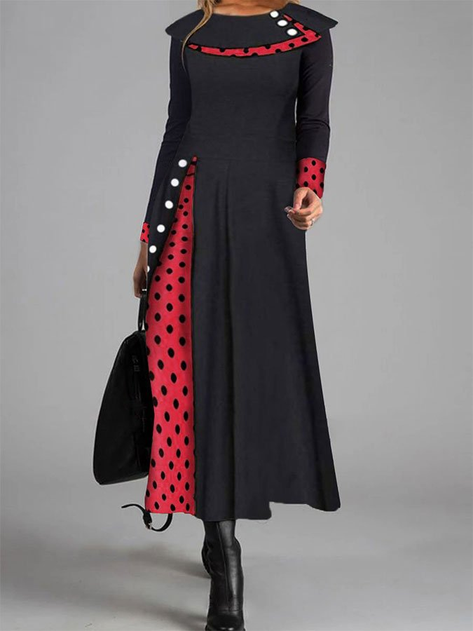 Retro Elegant Long-Sleeved Polka-Dot Color Blocking Maxi Dress
