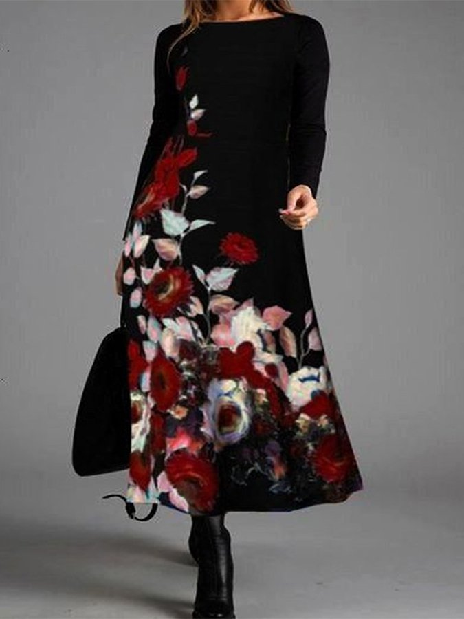 Fashion Casual Floral Print Long Sleeve Round Neck Dress