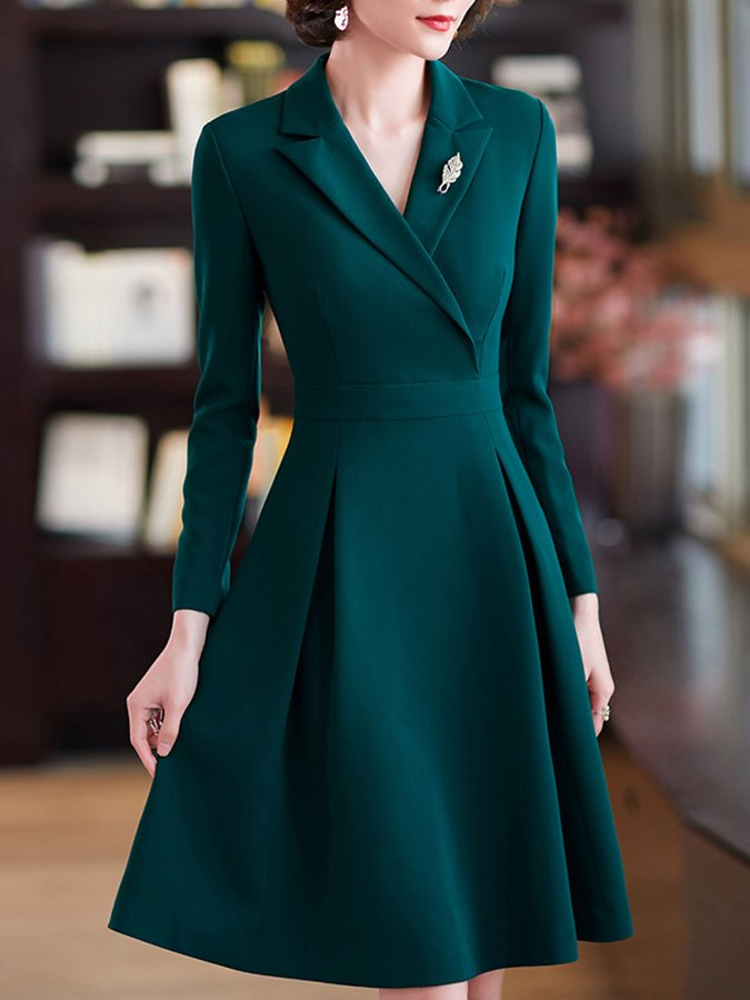 A-line Lapel Long Sleeve Elegant Dress