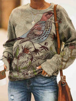 Vintage Long Sleeve Flowers And Birds Printed Crew Neck Plus Size Statement Casual Sweatshirt