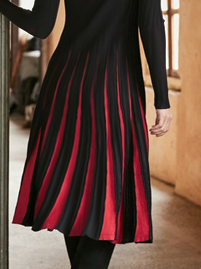 Black-Red Ombre/tie-Dye Long Sleeve Crew Neck Dresses