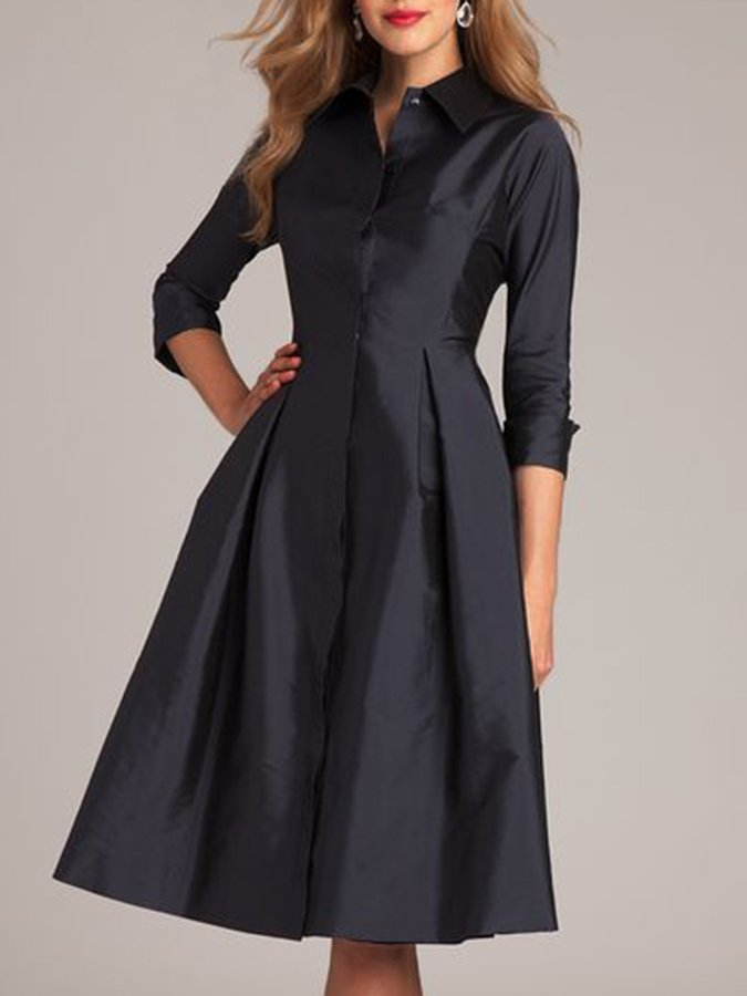 Elegant Shirt Collar Solid Dress