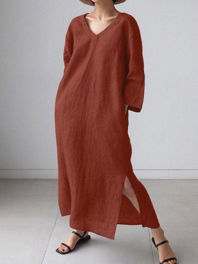 Plain V-Neck Long Sleeve Casual Vacation Cotton And Linen Dress