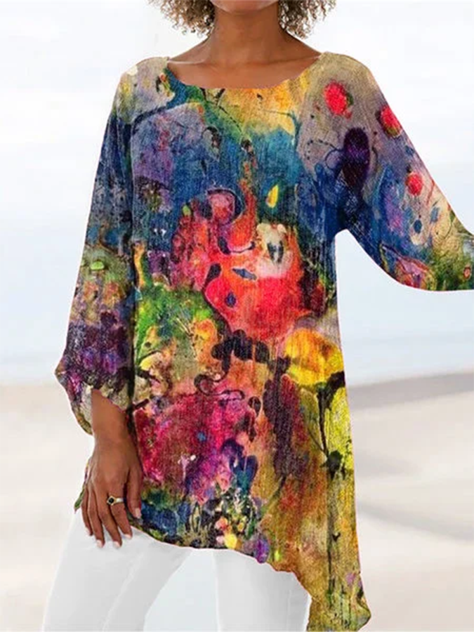 Multicolor Crew Neck Abstract Asymmetrical Casual Shirts & Tops