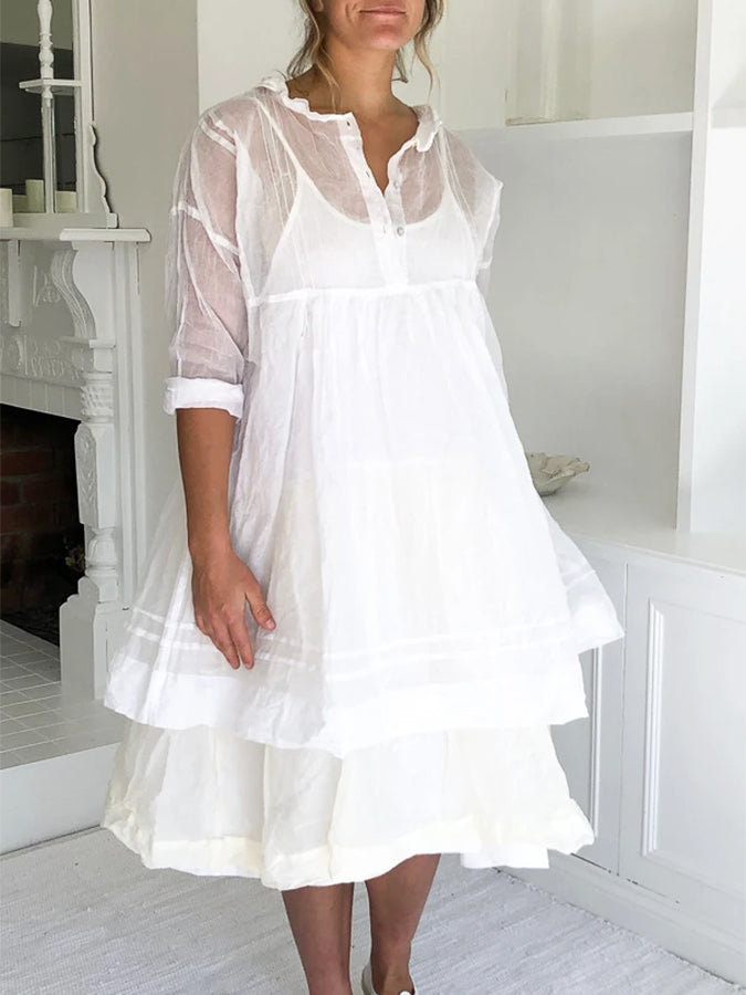 Plus Size Doll Collar Buttoned Swing Cotton Solid Half Sleeve Dresses
