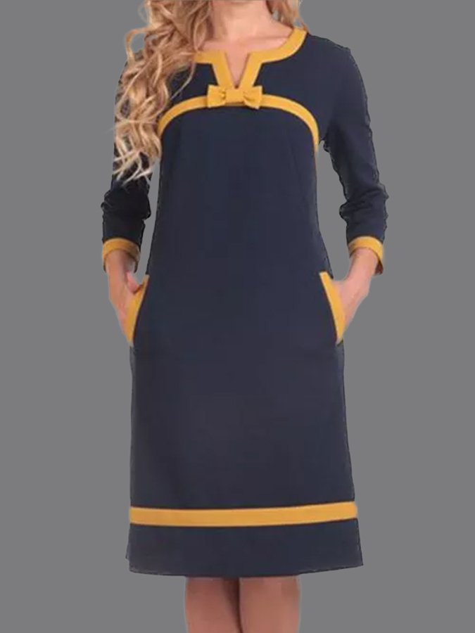 Purplish Blue Pockets Casual Long Sleeve Shift Dresses