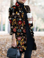 Black Work Shirt Collar Long Sleeve Floral Outerwear