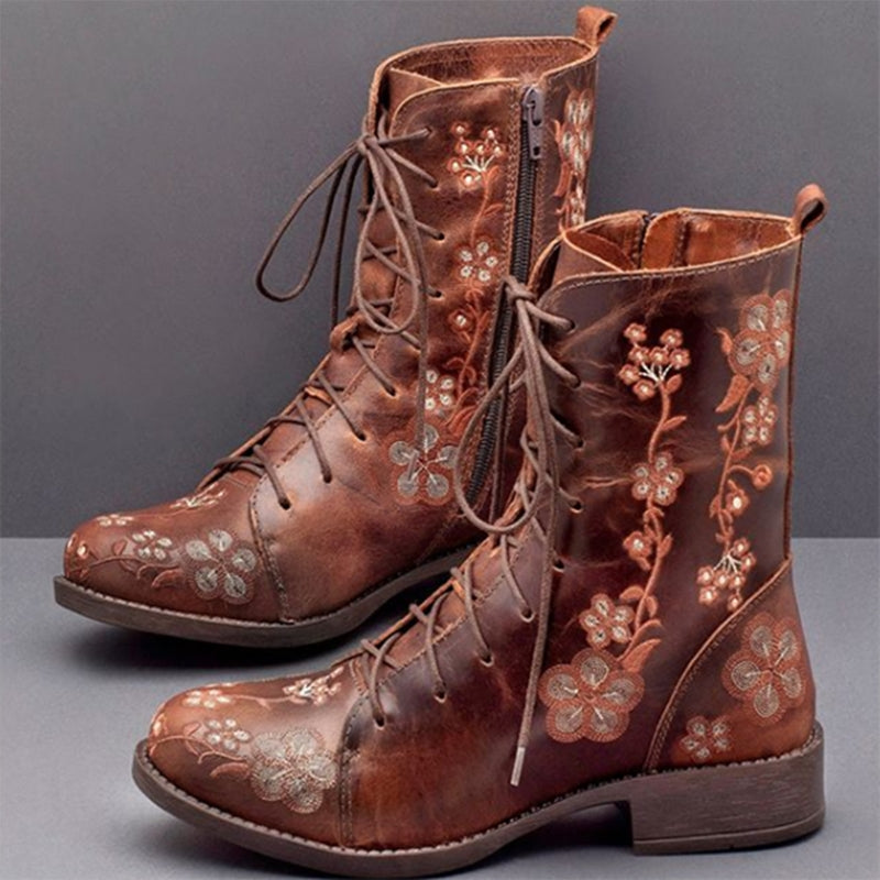 Faux Leather Flower Boots