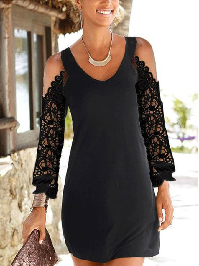 Black V Neck Beach Dresses
