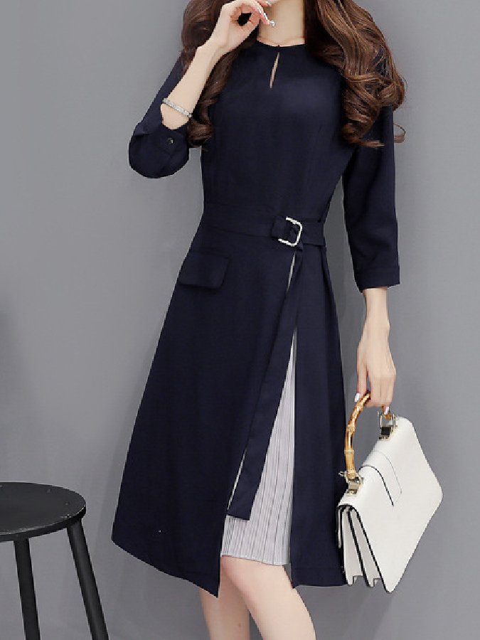 Navyblue A-Line Crew Neck Long Sleeve Vintage Dresses