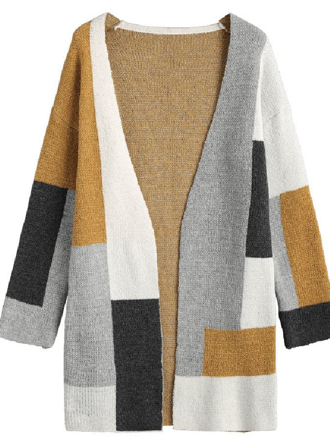Cotton Long Sleeve Color-Block Shift Outerwear
