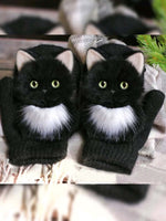 Polyester  Printed  Casual  Winter  Black Gloves