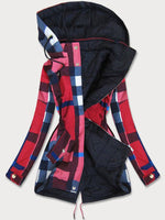 Red Hoodie Casual Long Sleeve Checkered/plaid Outerwear