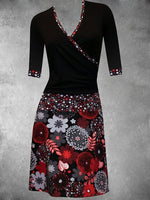 Large Size Black Printed Casual Dresses