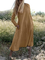 Plain Round Neck Long Sleeve Casual Vacation Cotton And Linen Dress