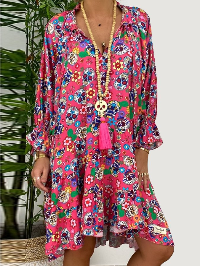 Pink Long Sleeve Shift Floral V Neck Dresses