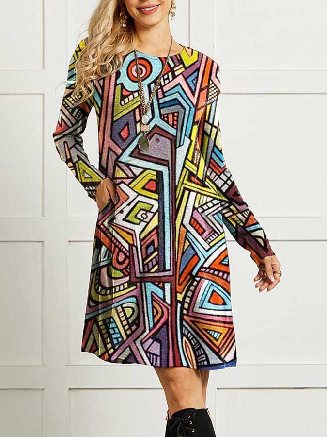 Print Casual Long Sleeve Dress