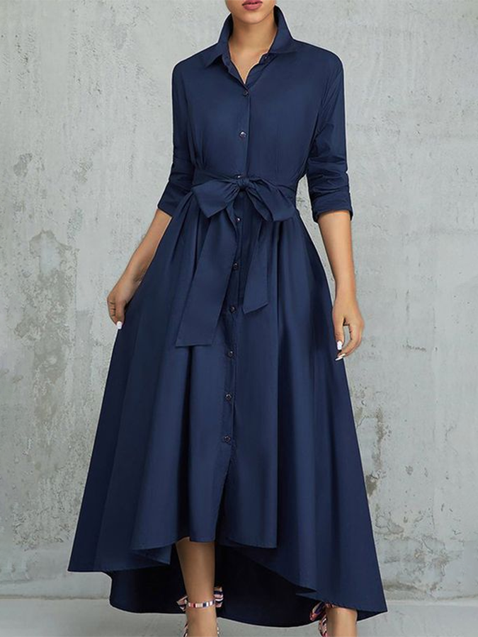 Dark Blue Bow Half Sleeve Dresses