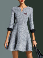 Gray A-Line V Neck 3/4 Sleeve Paneled Dresses