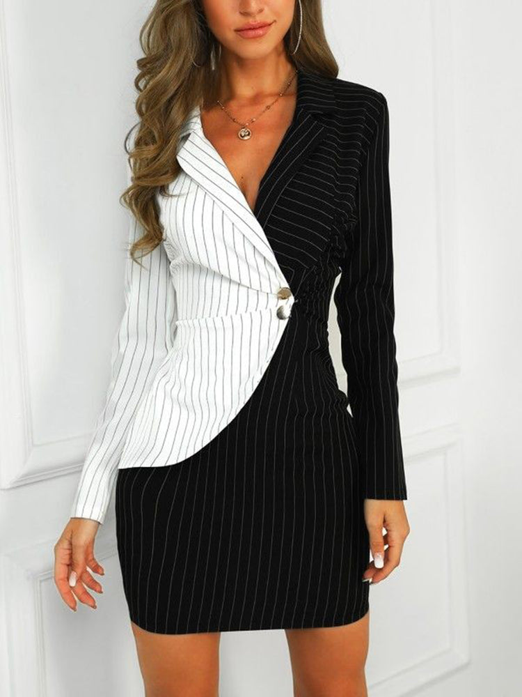 Black Stripes Long Sleeve Dresses