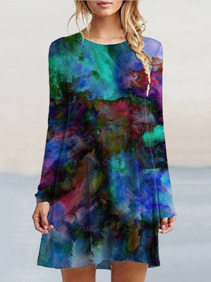 A-Line Crew Neck Long Sleeve Printed Dresses