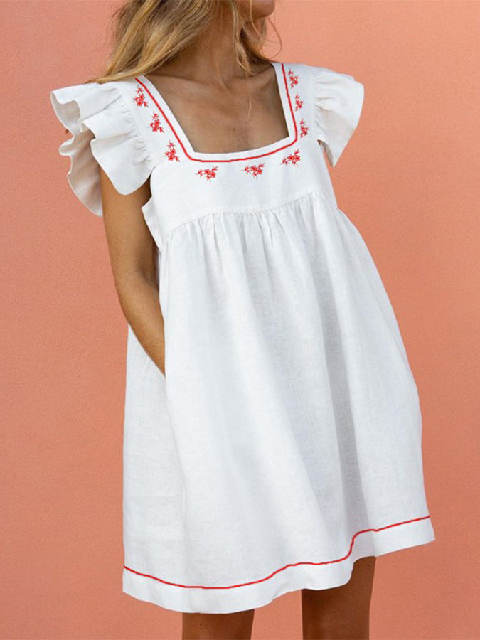Frill Sleeve Square Neck Swing Casual Dresses