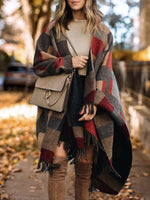 Checkered/plaid Casual Printed Shawl Outerwear