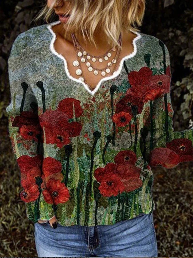 Red Long Sleeve Casual Floral Shirts & Tops