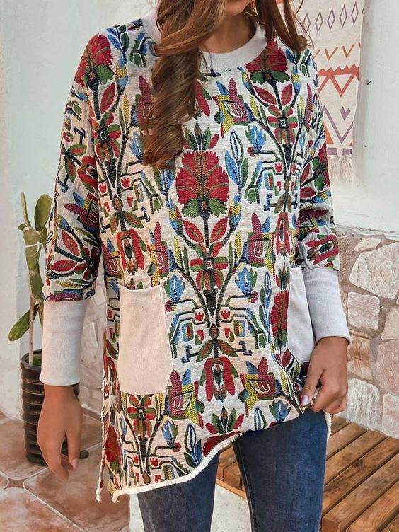 Casual floral print round neck long sleeve loose top