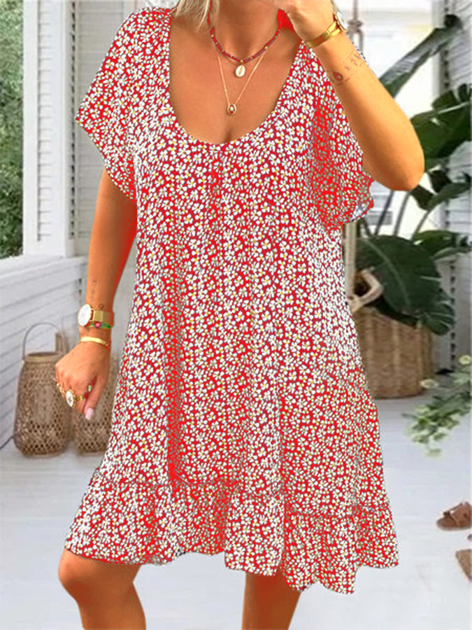 Summer Crew Neck Cotton-Blend Floral Short Sleeve Dresses