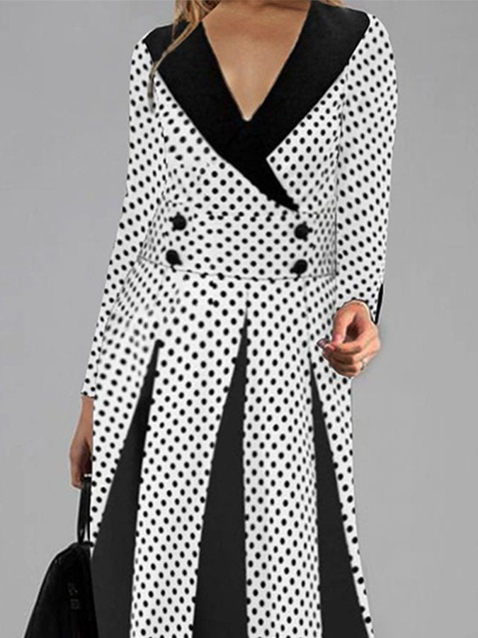 Elegant V-neck Polka Dot Loose Hem Casual Dress