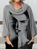 Gray Abstract Cotton 3/4 Sleeve Shirts & Tops