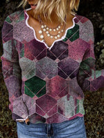 Purple Long Sleeve V Neck Geometric Casual Shirts & Tops