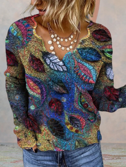 Multicolor Plant Printed Long Sleeve Shirts & Tops