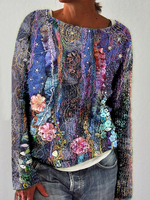Casual Floral Cotton-Blend Long Sleeve Tops