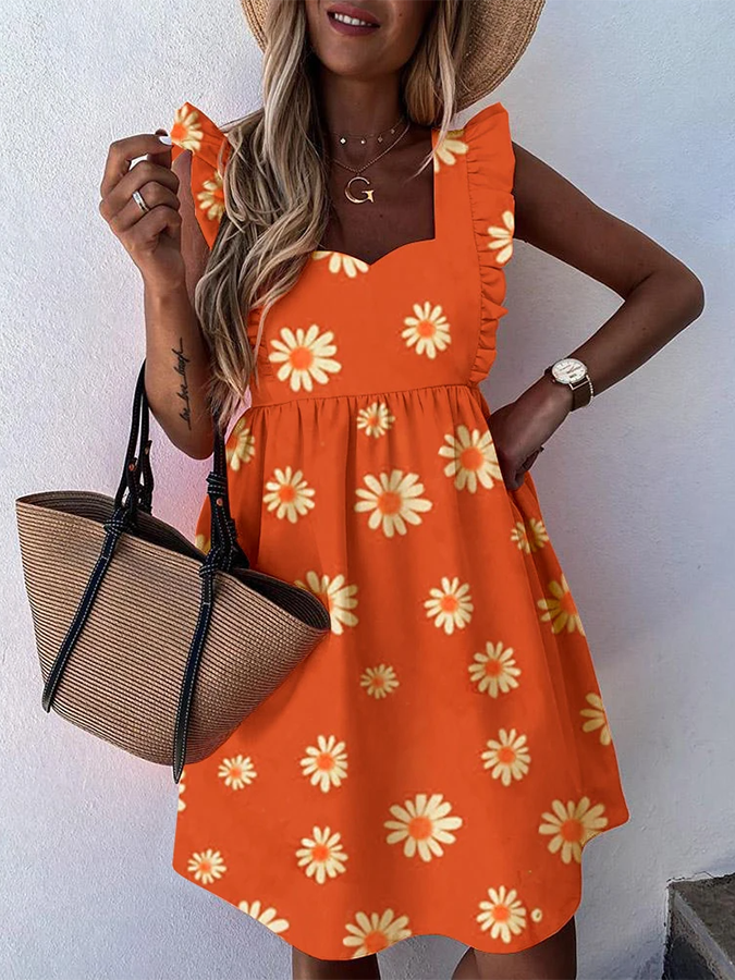 Orange Square Neck Sleeveless Dresses
