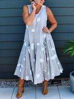 Gray Polka Dots Casual Pockets Dresses