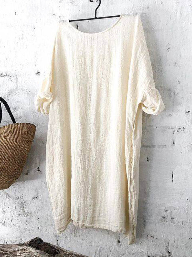 Crew Neck Short Sleeve Shift Casual Dresses