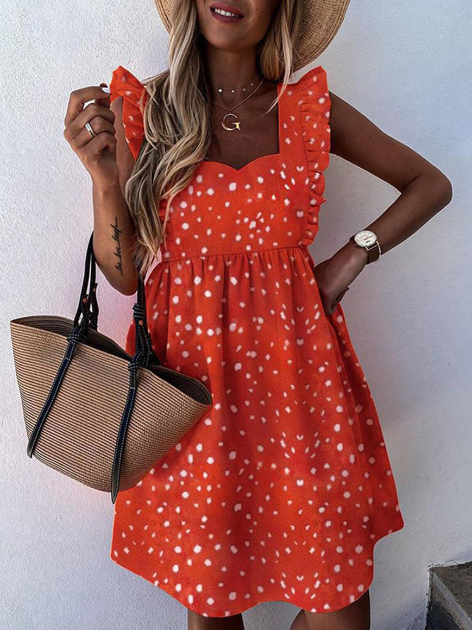 Orange Sleeveless A-Line Square Neck Dresses