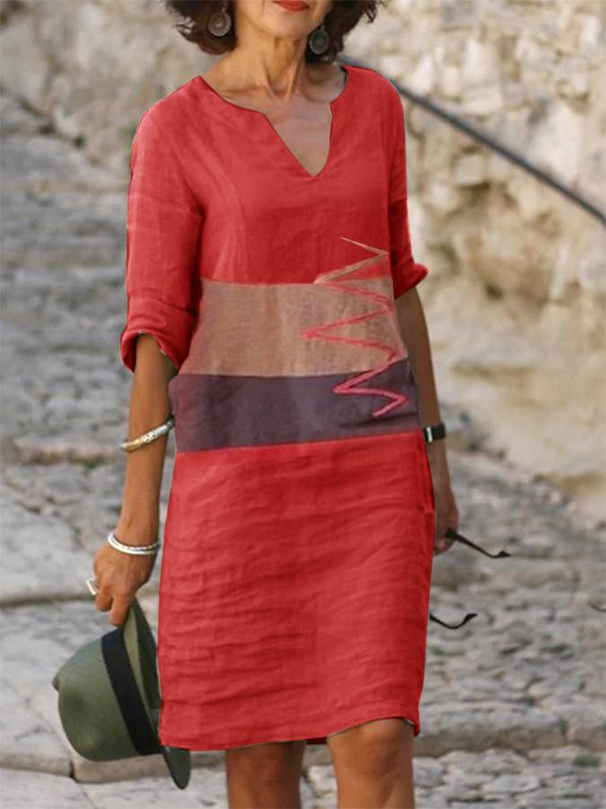 Patchwork Half Sleeve V Neck Cotton-Blend Dresses