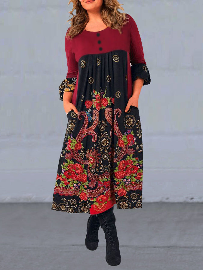 Red A-Line Printed Crew Neck 3/4 Sleeve Dresses