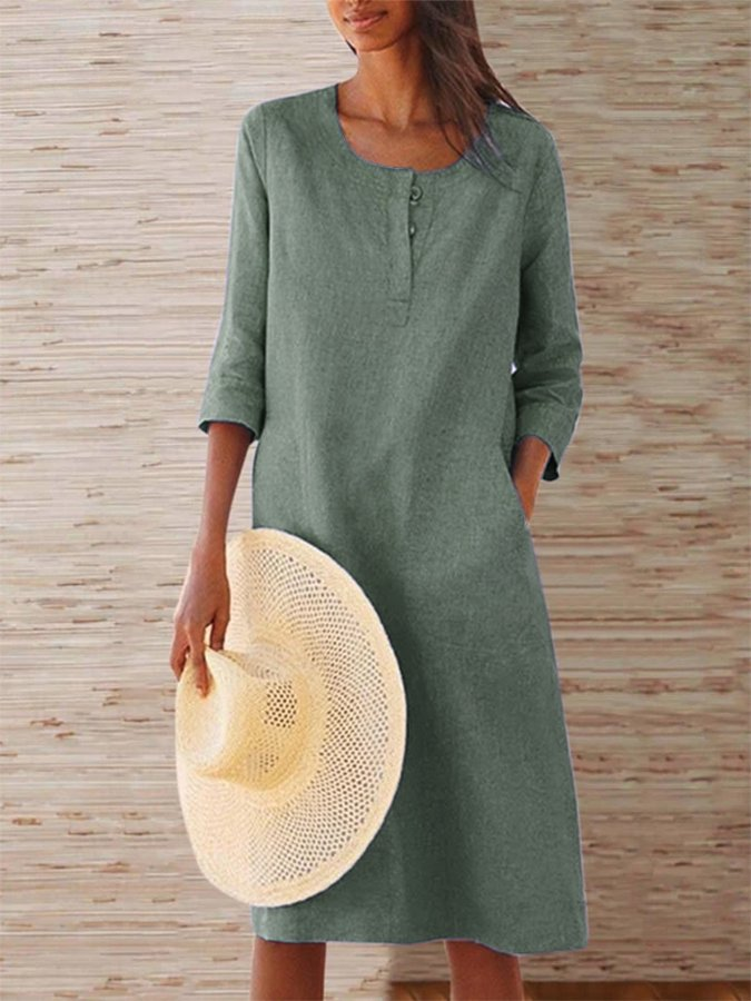 Casual 3/4 Sleeve Crew Neck Dress