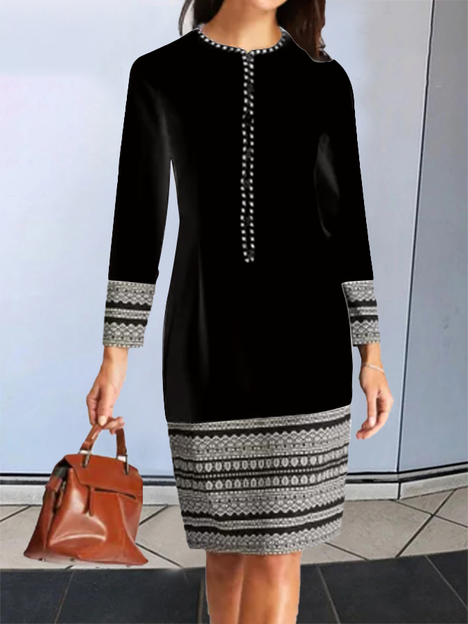 Printed Long Sleeve Elegant Dress