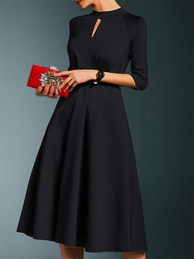 Black 3/4 Sleeve Plain A-Line Dresses