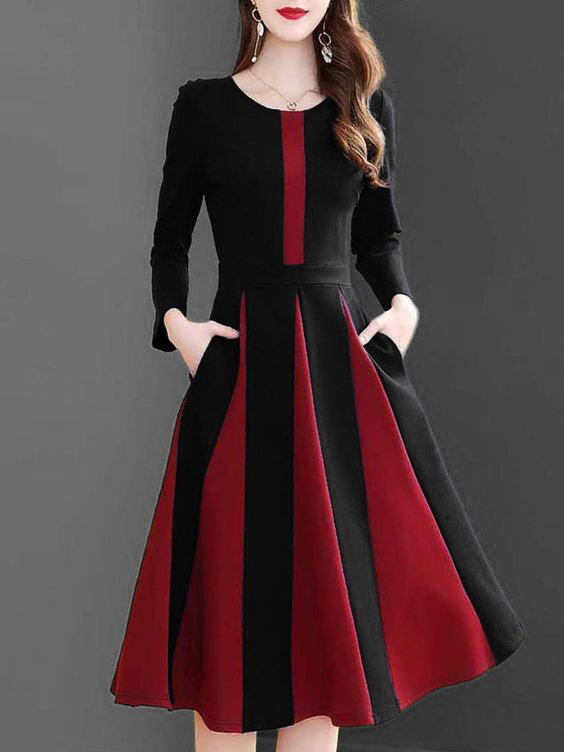 Color-Block Long Sleeve A-Line Vintage Dress