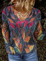 Multicolor Floral Long Sleeve Shift Casual Shirts & Tops
